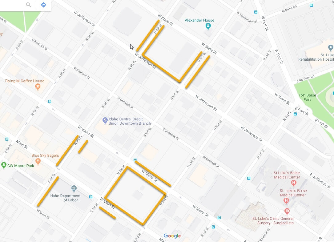 Map of downtown streets with ePermit parking highlighted